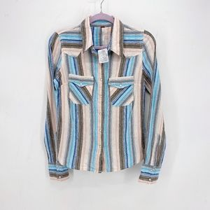 Free People Western Stripe Button Up Shirt